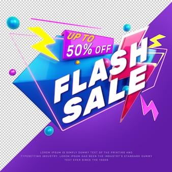 Banner de promoción de título de descuento de venta flash 3d
