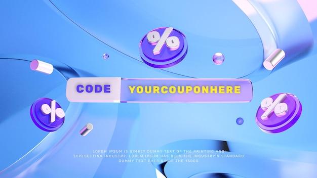 Banner de promoción de venta de descuento de apariencia de vidrio 3d