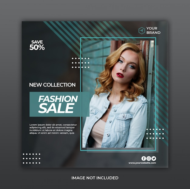 Banner de promoción de venta de moda minimalista o folleto cuadrado para plantilla de publicación de redes sociales