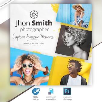 Banner pubblicitari di media sociali di fotografia