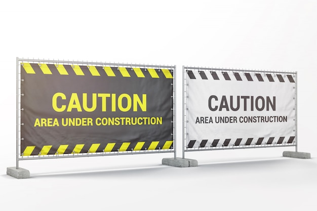 Banner pubblicitari esterni sul modello di barriera metallica