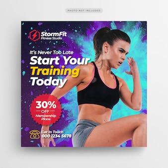 Banner de publicación de medios sociales de gimnasio de fitness o folleto cuadrado