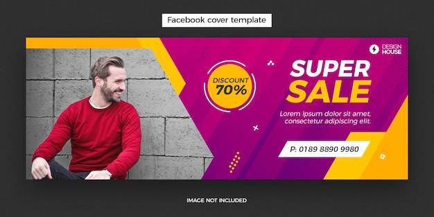 Banner de publicación de portada de facebook super venta dinámica