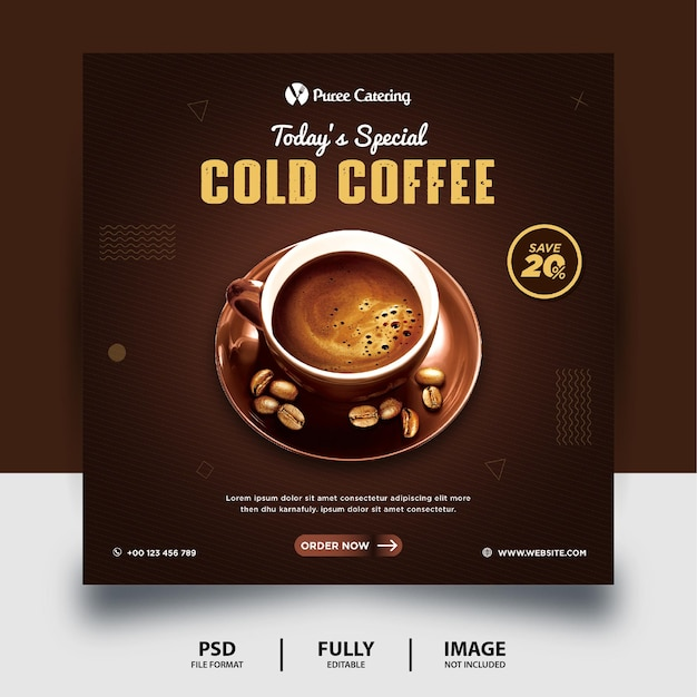 Banner de publicación de redes sociales de café frío de color chocolate