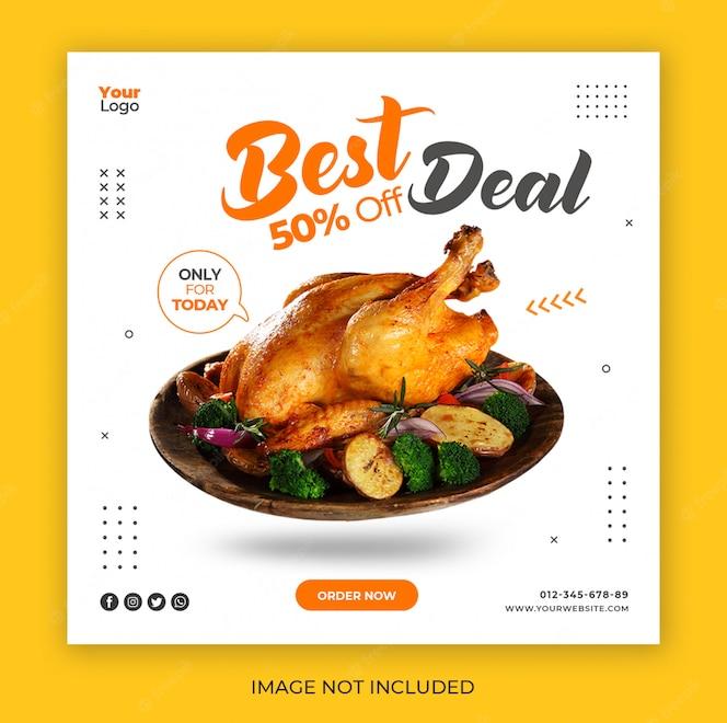 Banner de publicación de redes sociales con concepto de menú especial