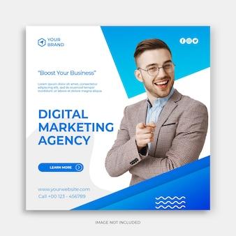 Banner de publicación de redes sociales de marketing de negocios digitales o folleto cuadrado