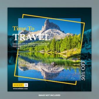 Banner de publicación de redes sociales de viajes