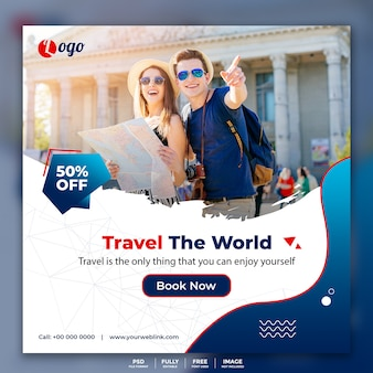Banner de publicaciones en redes sociales para viajes