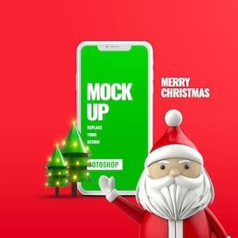 Banner de publicidad móvil de santa claus