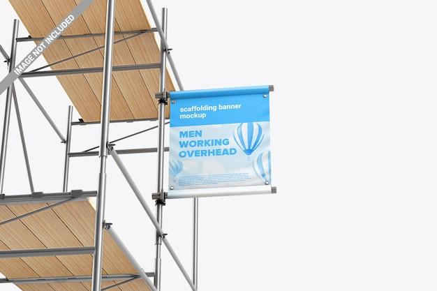 Banner publicitario cuadrado en maqueta de andamios