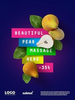 Banner publicitario flotante de peras dulces