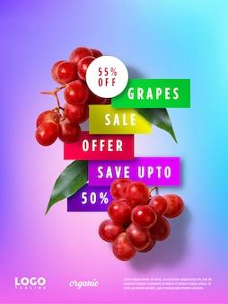 Banner publicitario flotante de uvas