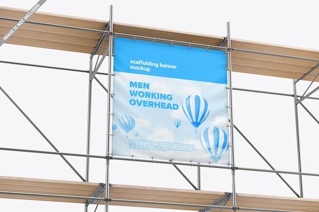 Banner publicitario de vinilo con ojales en maqueta de construcción metálica