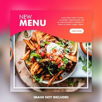 Banner quadrato di cibo social media post modello
