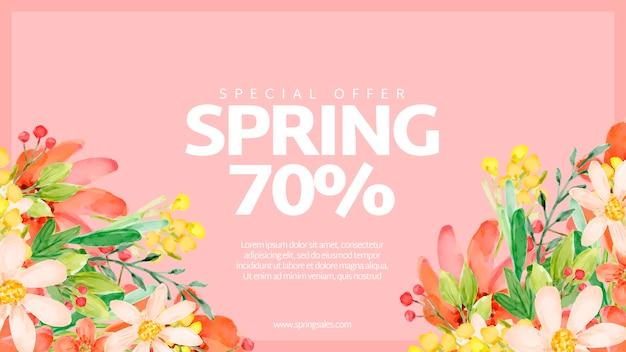 Banner de rebajas de primavera con flores de acuarela