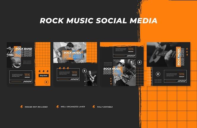 Banner de redes sociales de banda y plantilla de publicación de instagram