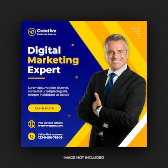 Banner de redes sociales de marketing de negocios creativos digitales o plantilla de volante cuadrado