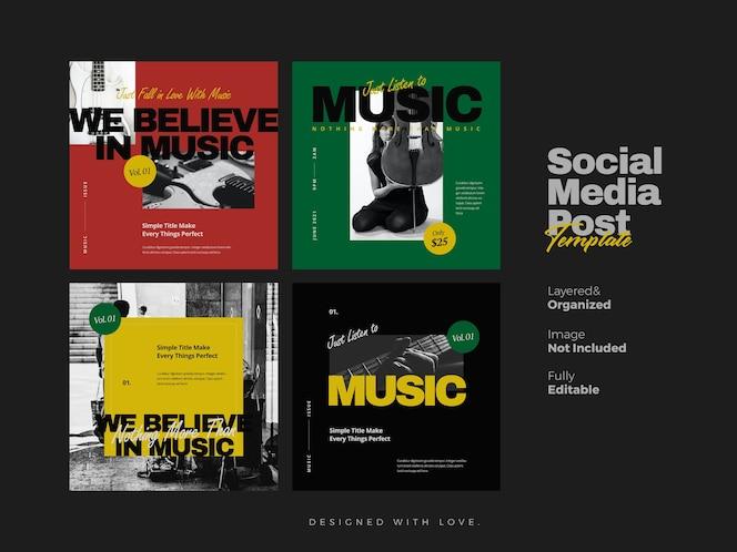 Banner de redes sociales de música y plantilla de publicación de instagram