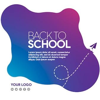 Banner de redes sociales de regreso a la escuela con avión