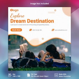 Banner de redes sociales de viajes de vacaciones