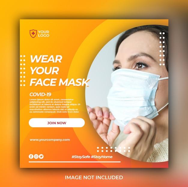 Banner de salud médica o folleto cuadrado con tema de prevención de virus para plantilla de publicación en redes sociales
