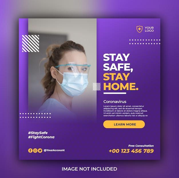 Banner sanitario con tema di prevenzione dei virus