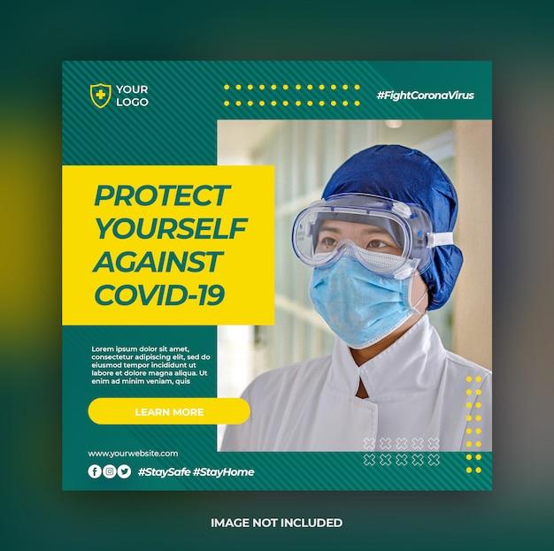 Banner sanitario o volantino quadrato con tema di prevenzione covid-19 per modello di post di social media