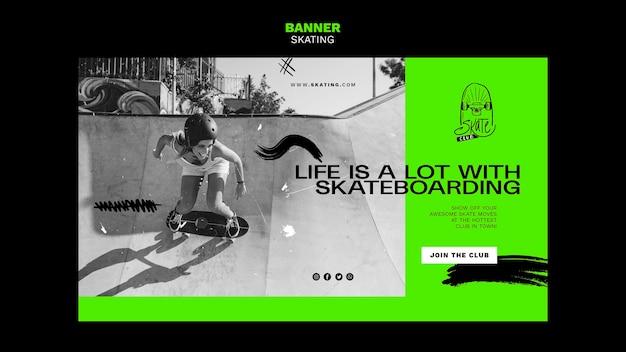 Banner schaatsen advertentiesjabloon