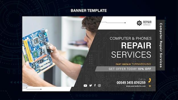 Banner de servicios de reparación de computadoras y teléfonos.