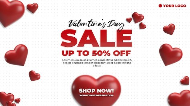 Banner del sitio web día de san valentín publicidad de descuento de compras en redes sociales