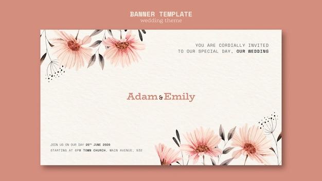 Banner sjabloon concept voor bruiloft