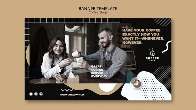 Banner sjabloon concept voor coffeeshop