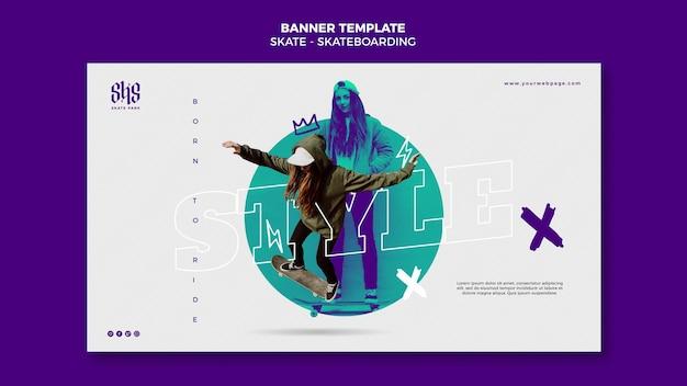 Banner sjabloon skateboarden concept