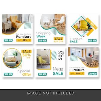 Banner social media post collezione di mobili per la casa pulita