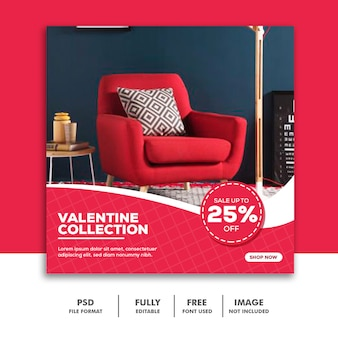 Banner social media post instagram, muebles de color rosa