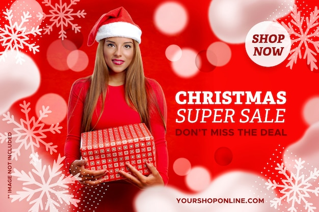 Banner de super venta de navidad