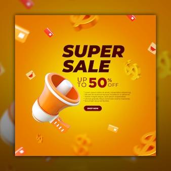 Banner de súper venta de publicaciones en redes sociales con elemento de renderizado 3d