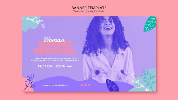 Banner con tema de festival de primavera de mujer