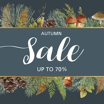 Banner temático de otoño con marco de borde