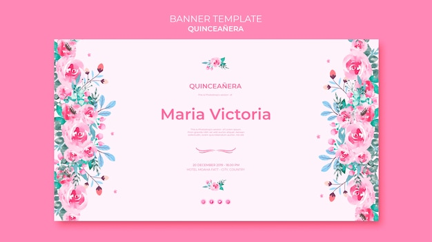 Banner template quinceañera