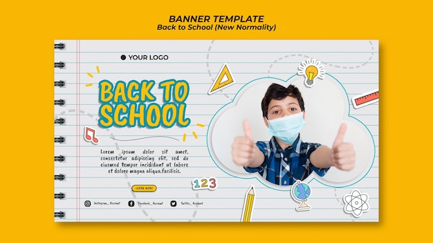 Banner para la temporada de regreso a la escuela