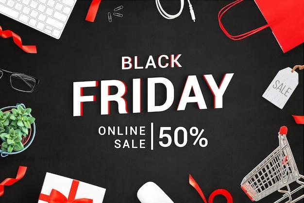 Banner de texto 3d de venta de viernes negro