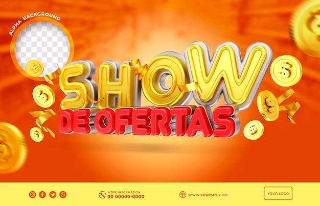 Banner toont aanbieding in brazilië render 3d-sjabloonontwerp