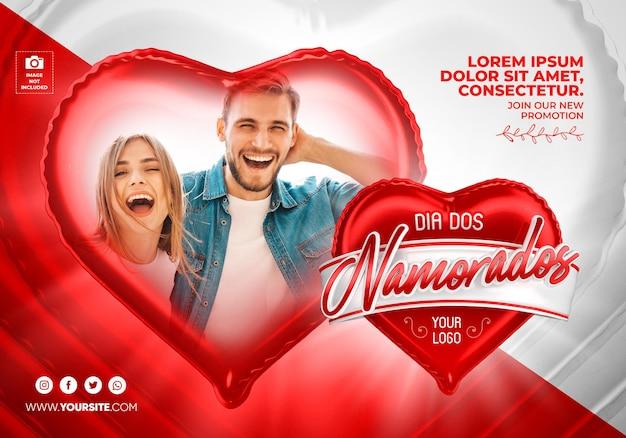 Banner valentijnsdag in brazilië 3d render sjabloonontwerp