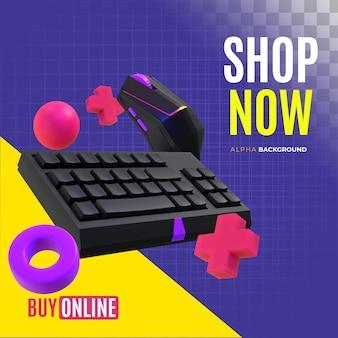 Banner de venta de accesorios de computadora.