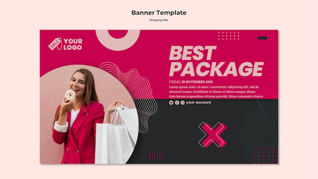 Banner de venta comercial con foto de mujer