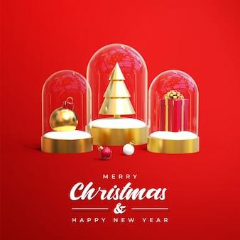 Banner de venta de feliz navidad con objetos 3d