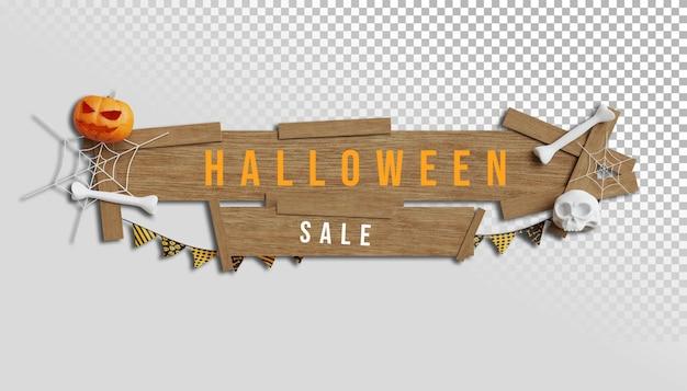 Banner de venta de halloween con texto en madera y fondo transparente