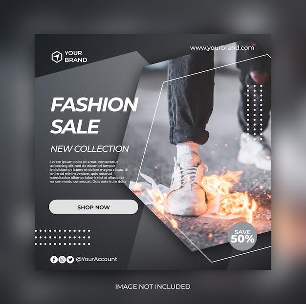 Banner de venta de moda negra o folleto cuadrado para plantilla de publicación de redes sociales