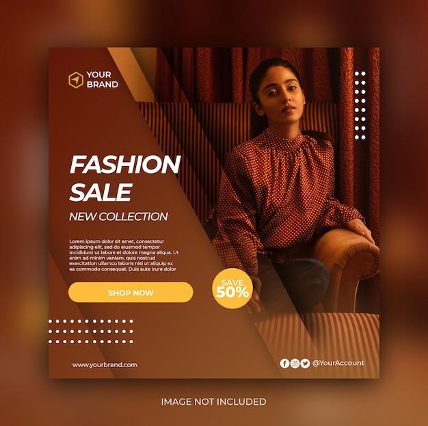 Banner de venta de moda o folleto cuadrado para plantilla de publicación en redes sociales